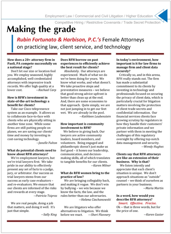 Rubin Fortunato & Harbison, P.C.'s Female Attorneys on practicing law, client service, and technology